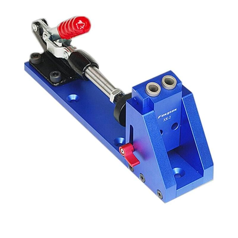 Woodworking Locator Guide Carpenter Kit Inclined Hole Drill Tools Clamp Base Bit for Wood Drilling Pocket Hole Jig