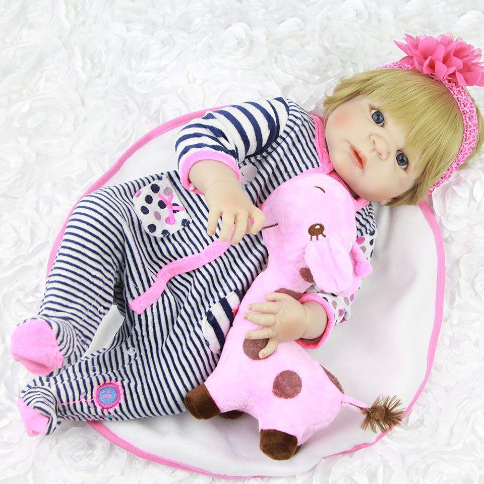Full Body Silicone Vinyl Babies Reborn Dolls Realistic Alive 23 inch New Born Baby wear Stripe Rompers bebe Bonecas Rebron Gift