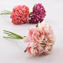 Hortensia flor artificial 5 cabezas Peony nupcial ramo de flores de seda para la boda de San Valentín cumpleaños decoración para el hogar