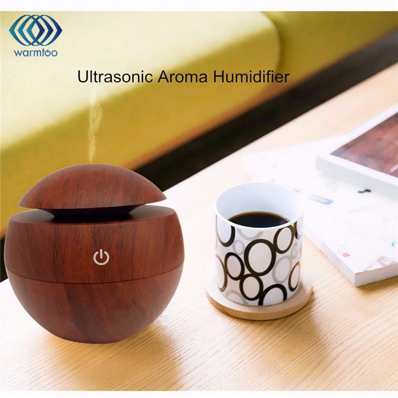 En bois Grain USB LED Lumière Ultrasons Brume Fraîche Arômes Humidificateur Diffuseurs D'air Parfums Pour Home Office Voiture Usdd