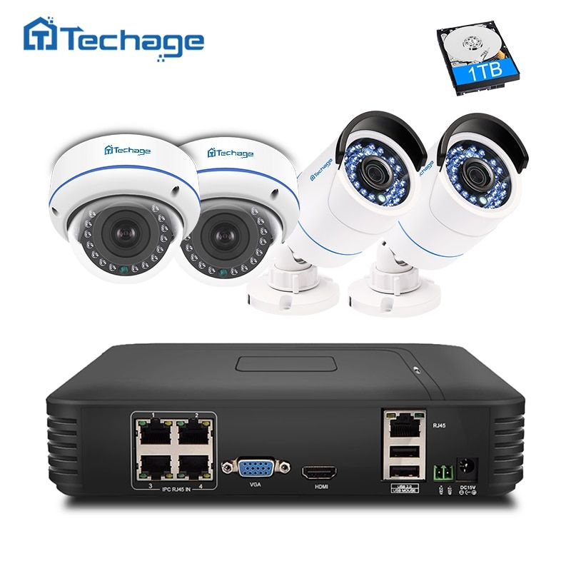Techage Plug And Play 4CH 1080P POE NVR CCTV System 2.0MP Dome Indoor Outdoor IP Camera P2P IR <font><b>FULL</b></font> HD Security Surveillance Kit