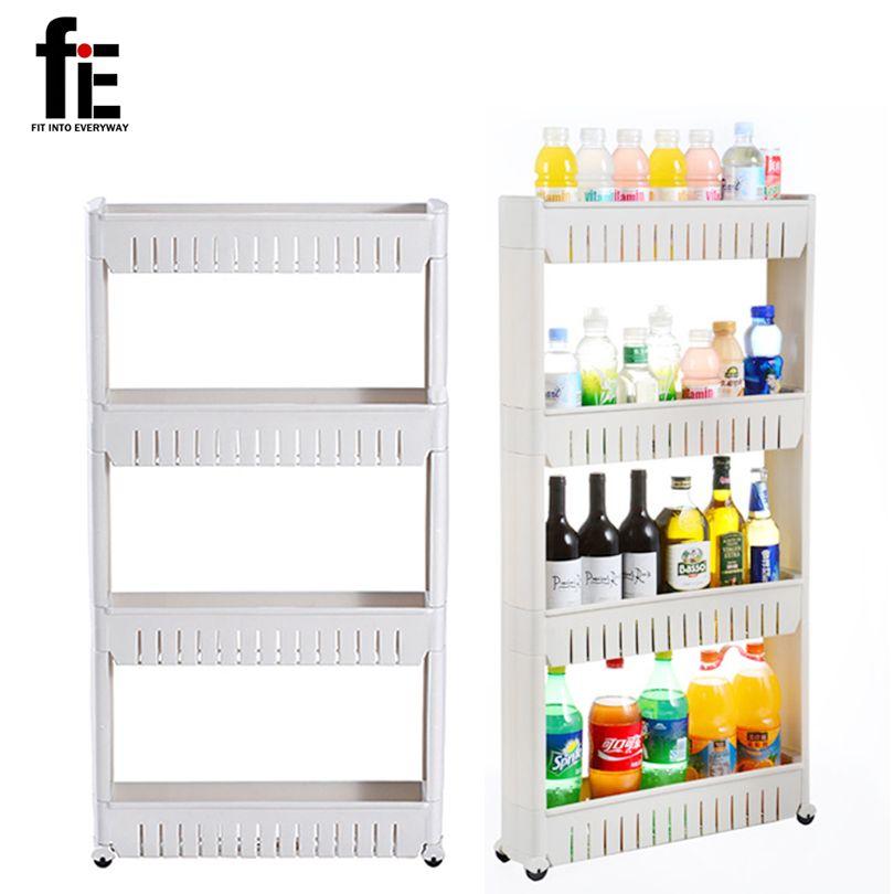 FIE estante multiusos con extraíble Ruedas grieta estante Almacenamiento de baño estante de almacenamiento multi-capa refrigerador estante lateral