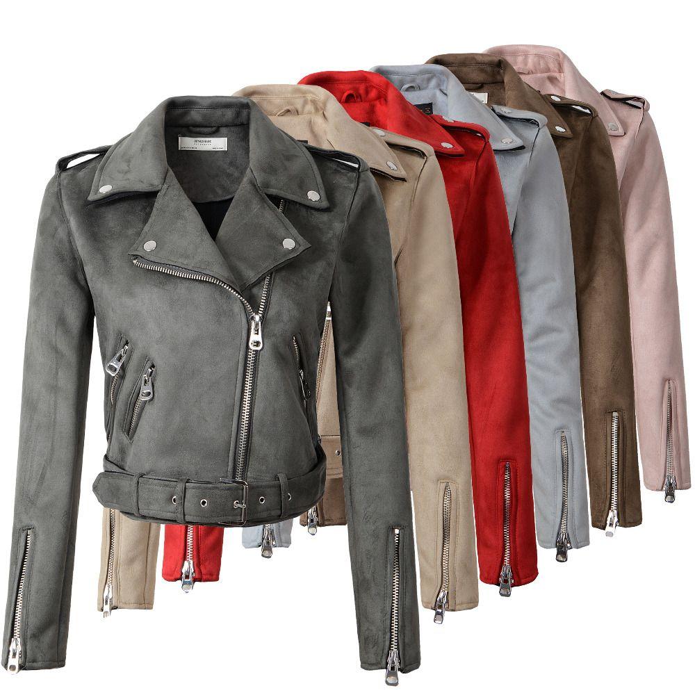 2018 New Arrial Women Autumn Winter Suede Faux Leather Jackets Lady Fashion <font><b>Matte</b></font> Motorcycle Coat Biker Gray Pink Beige Outwear