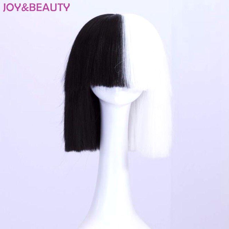Joie & beauté cheveux noir blanc noir doré mélange court droit perruque haute température Fiber cheveux Sia Cosplay perruque 35 cm de Long