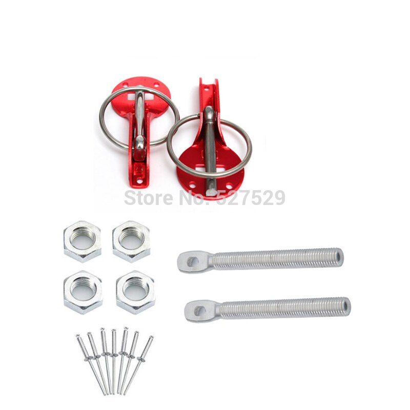 Alloy Red Universal Racing Sport Car Auto Mount Bonnet Hood Latch Pin Locking Kit