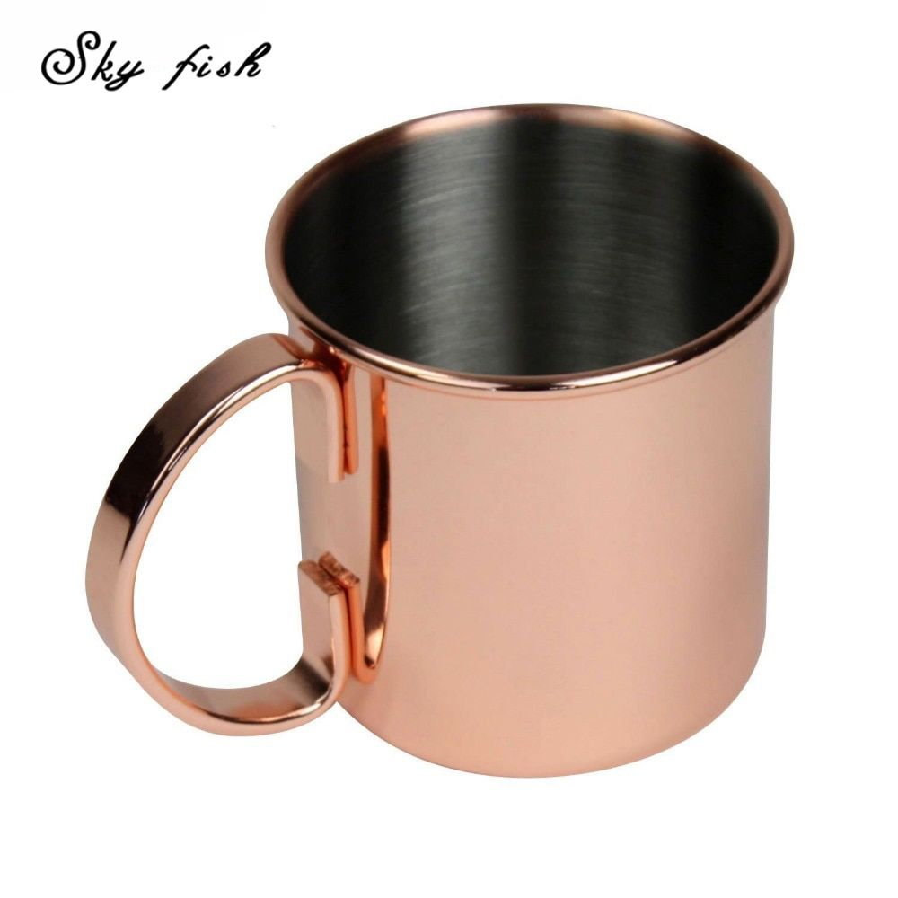 Sky Fish 16oz Copper Plated Stainless steel 18/8 Moscow Mule Copper mug Beer Cup Copper mug Rose gold Drinkware
