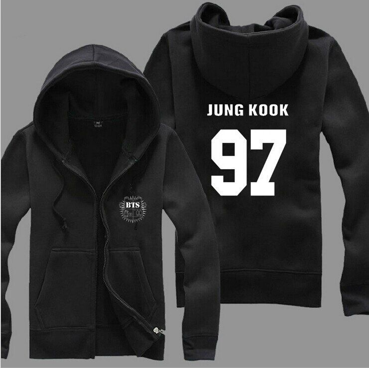 K-pop BTS Bangtan Boys Bulletproof Album Winter Sweatshirt Female Plus Velvet Long-sleeved Zipper Hooded Jacket BTS Kpop Coat
