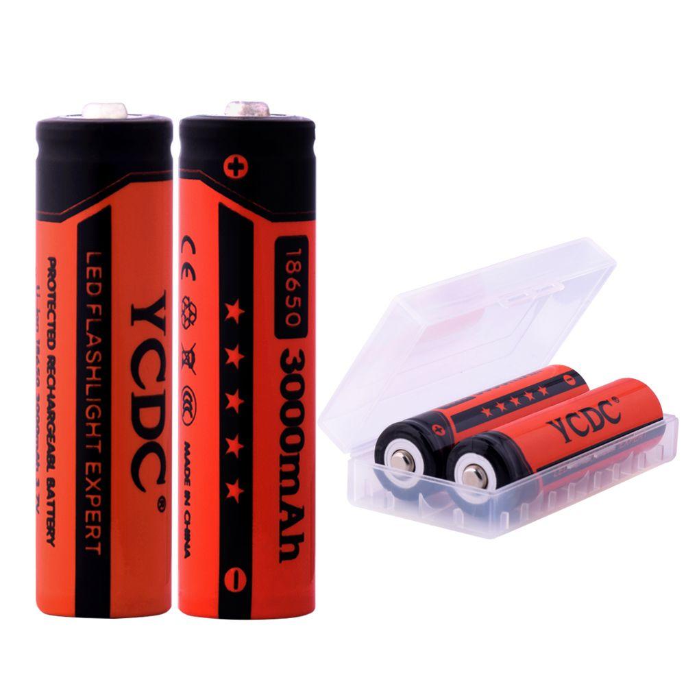 YCDC Bateria Pour Torche 2 pièces-20 pièces Rechargeable 18650 Batteries 3.7 V 3000 mAh Lithium li-ion Batterie pour lampe de poche LED