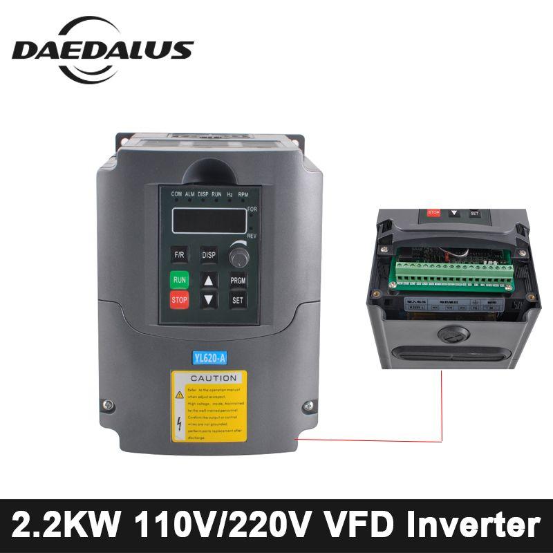CNC 2.2KW/1.5KW VFD Variable Frequency Driver Inverter 110V/220V Frequency Converter AC/DC Spindle Inverter For Engraver Machine