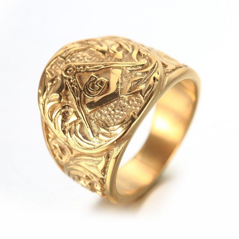 Золото и серебро Для мужчин S с тиснением штампованные масоном масонской кольцо 316L Кольца из нержавейки Новый Украшения для мужчин