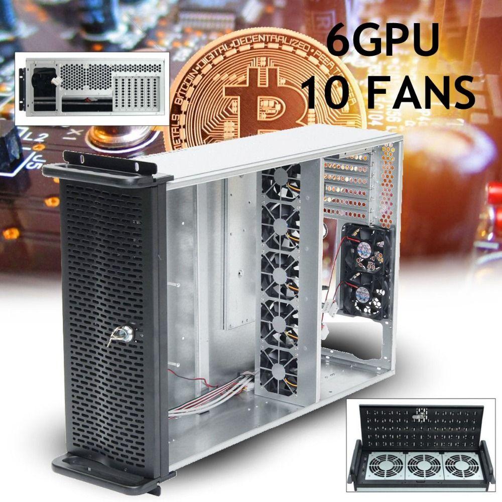 6 GPU 4U Rackmount Bergbau Bergmann Rahmen Bergbau Server Fall mit 10 FANS Rsiers Rahmen Rig