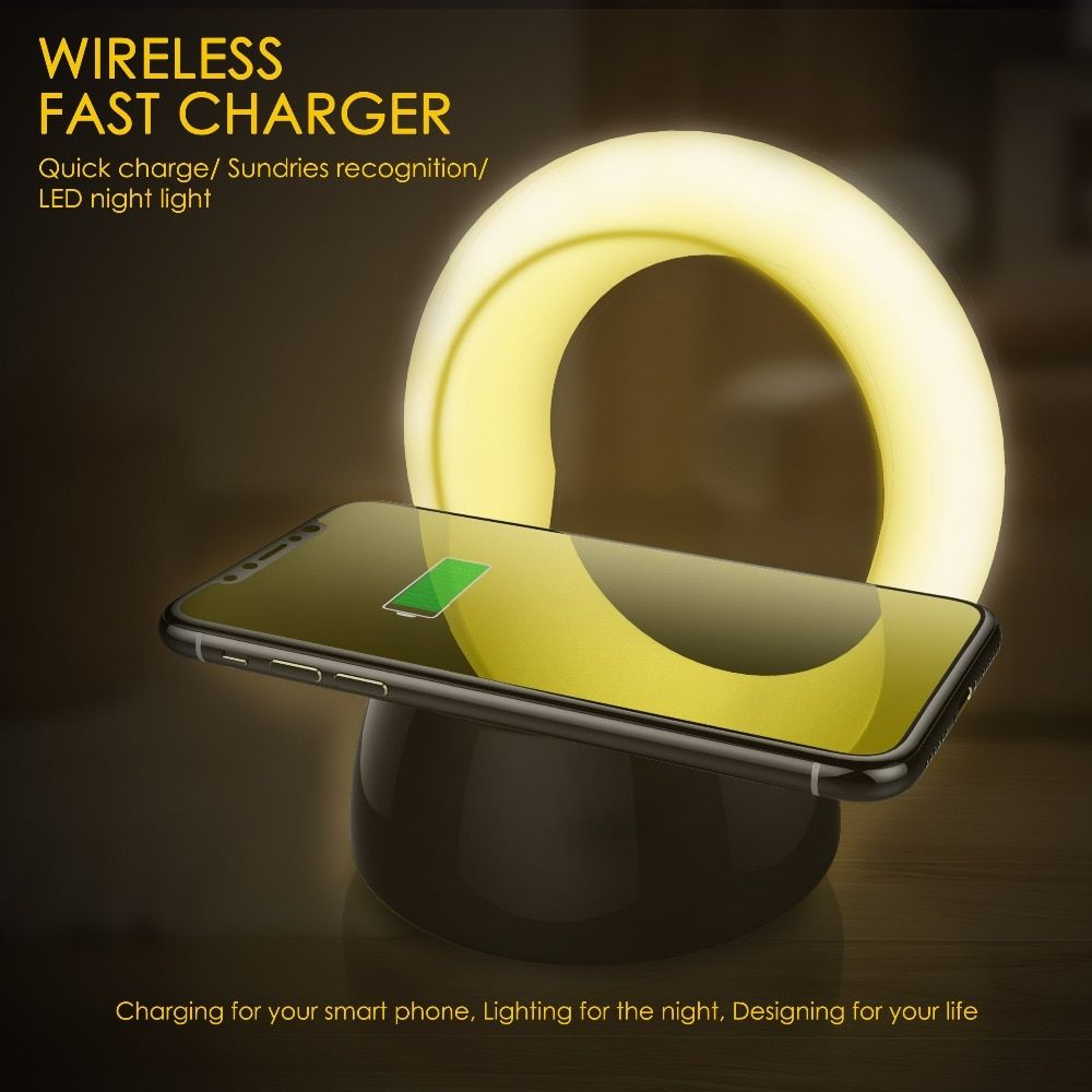 UNIBROTHER QI Intelligent Charging Fast Wireless Charger For Samsung S9 S8 S7 Plus Note Phone Charger Night Light For IPhone X 8
