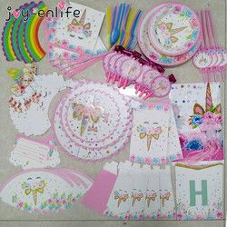 Unicorn Party Supplies Kids 1st Birthday Unicorn Tablecloth Paper Cups Napkin Banner Cake Topper Wedding Baby Shower Decorations