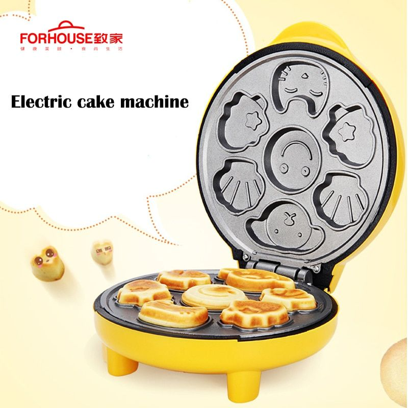 Non-stick Pan Electric Waffle Maker Pancake Machine Portable Cute Cartoon Cake Mold Bread Baking Tools Breakfast For Kids 220V