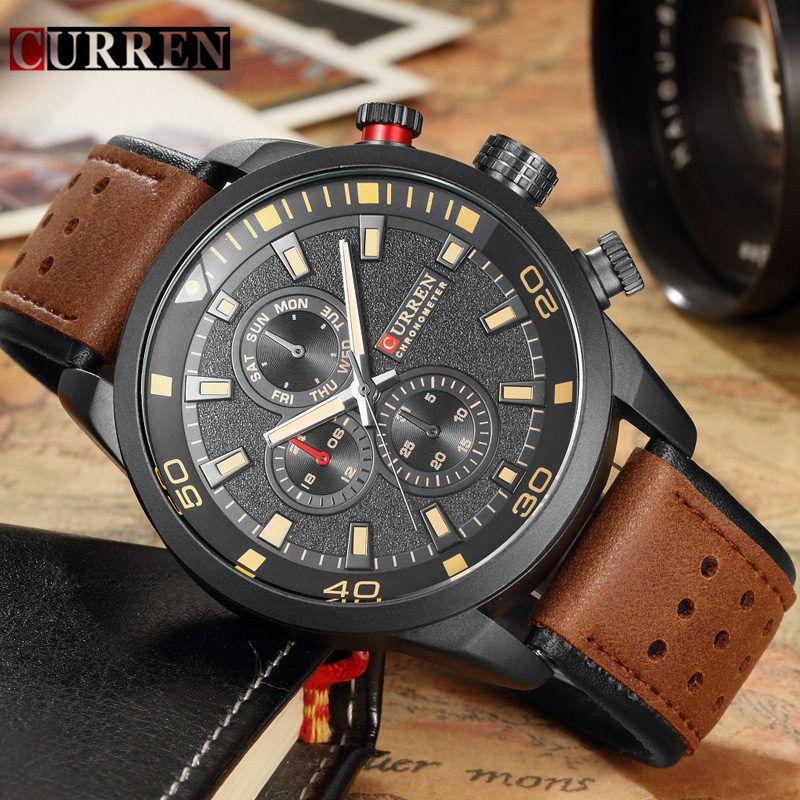 Curren 8250 Men Quartz Watches Brand Luxury Military Sport Mens Wristwatch Waterproof Leather Strap Male Clock Relogio Masculino