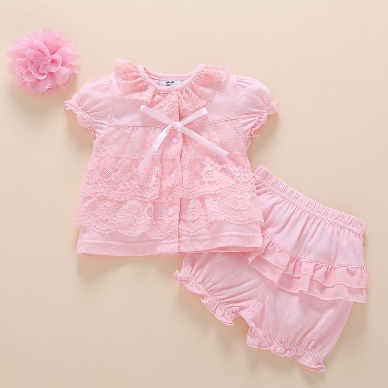 Bébé fille vêtements pantalons ensemble 2017 été mode coton nouveau-né ensembles infantile vêtements bandeaux rose fête princesse 0 3 6 9 mois