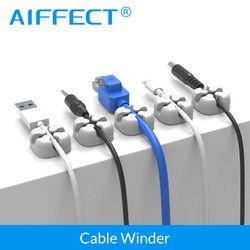 AIFFECT 6 Pcs Silikon Kabel Wickler Magnetische Kabel Clip USB Kabel Organizer Klemm Desktop Workstation Draht Kabel Management