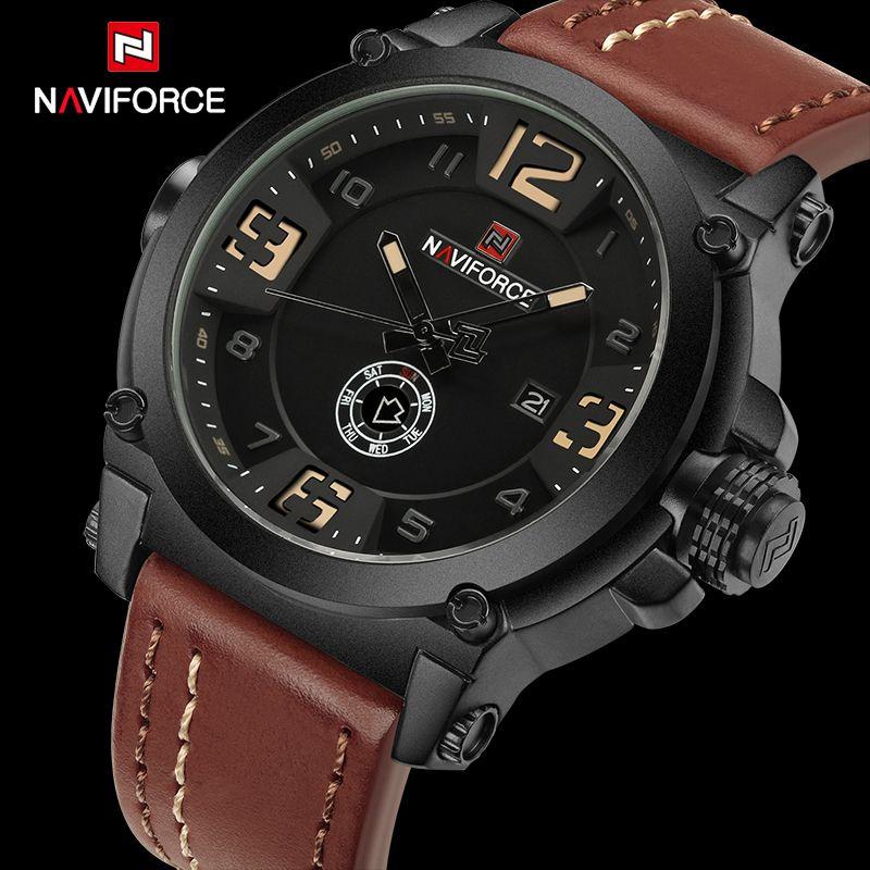Top Luxury Brand NAVIFORCE Mens Sport Watches Quartz-Watch Leather Strap Clock Men Waterproof Wristwatch relogio masculino 9099