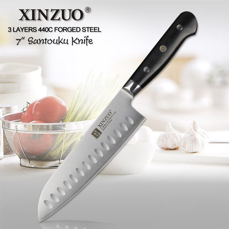 XINZUO 7 zoll santokumesser 3 Schicht 440C Core Verkleidet Stahl Küchenmesser Japanischen küchenchef G10 Griff Edelstahl Cultery Cutter