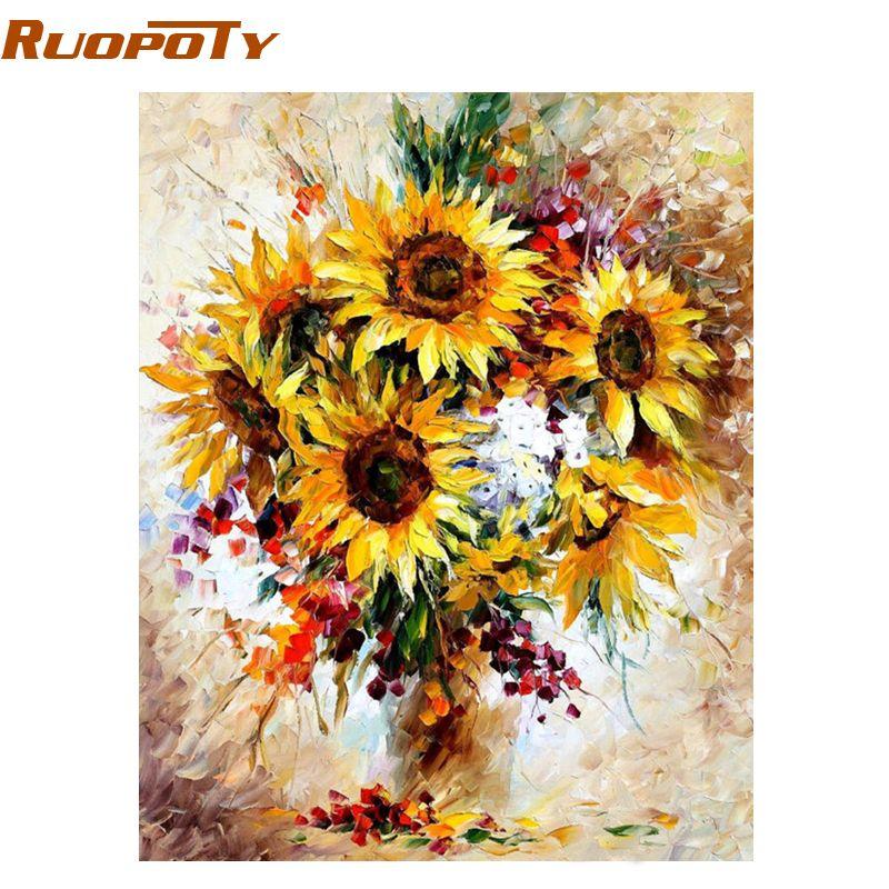 RUOPOTY Cadre Jaune De Tournesol Diy Numérique Peinture Par Numéro Acrylique Image Moderne Mur Art Peint À La Main Peinture À L'huile Pour La Maison
