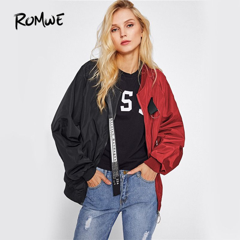 ROMWE Patchwork Casual Bomber Jacket Color Block Women Two Tone Patch Back Autumn Jackets 2018 New Letter <font><b>Ribbon</b></font> Zip Up Jacket
