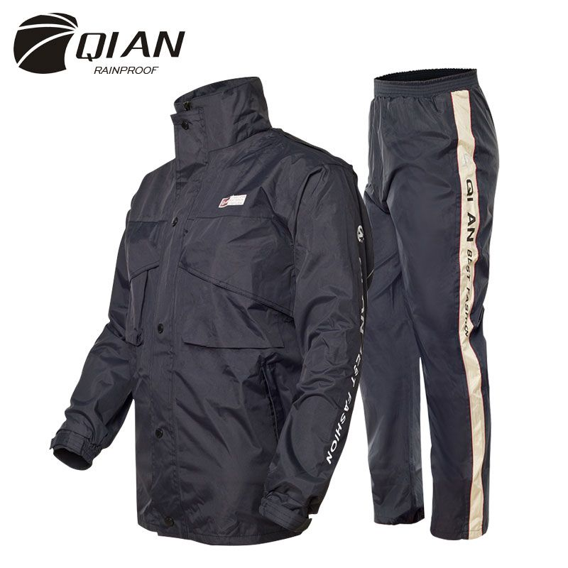 QIAN Impermeable Raincoat Women/Men Suit Rain Coat Outdoor Hood Women's Raincoat Motorcycle Fishing <font><b>Camping</b></font> Rain Gear Men's Coat