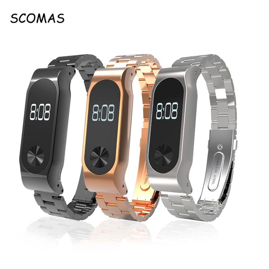 SCOMAS Bracelet De Luxe Pour Xiaomi Mi band 2 De Remplacement En Acier Inoxydable Bracelet Classique Bande De Montre Pour Miband 2