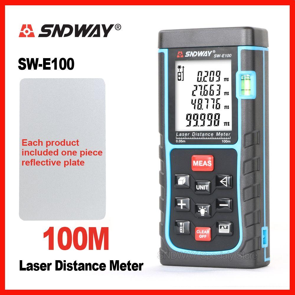 SNDWAY De Poche Laser Mètre de Distance Télémètre Range Finder SW-E40m 50 m 60 m 70 m 80 m 100 m Bande trena Règle Testeur D'outils À Main