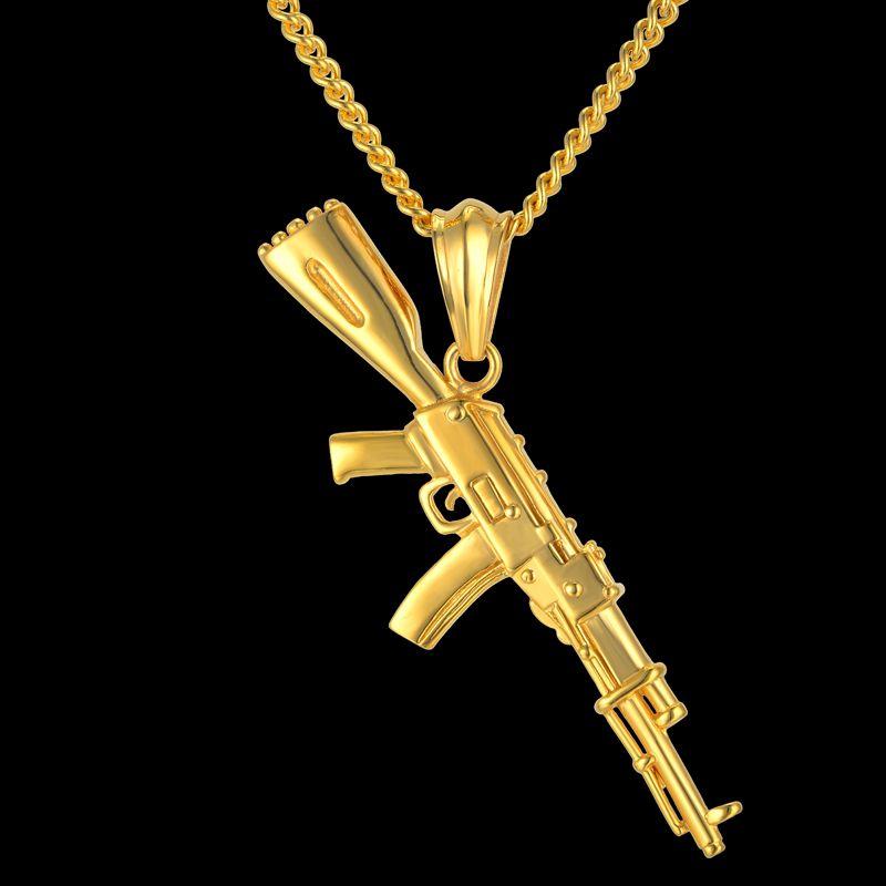 Hiphop Punk Gun Collier Pendentif Mâle 4 Taille Chaîne Hip Hop Bijoux Hommes En Acier Inoxydable/Noir/Or Couleur bijoux AK47 Collier