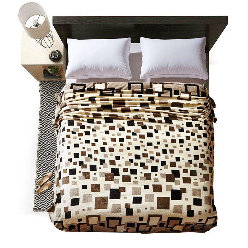 4 tailles Super doux et chaud corail polaire velours maison couvertures en micropeluche imprimé flous Plaids couvre-lits pour lit et canapé