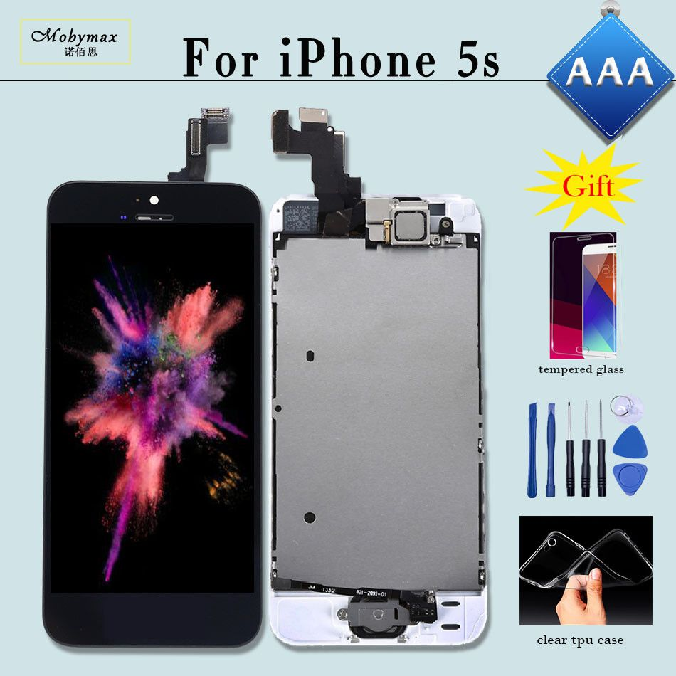 AAA Full Assembly For iPhone 5s Display Touch Glass Screen Digitizer Pantalla with Home Button Front Camera for iPhone 5s LCD
