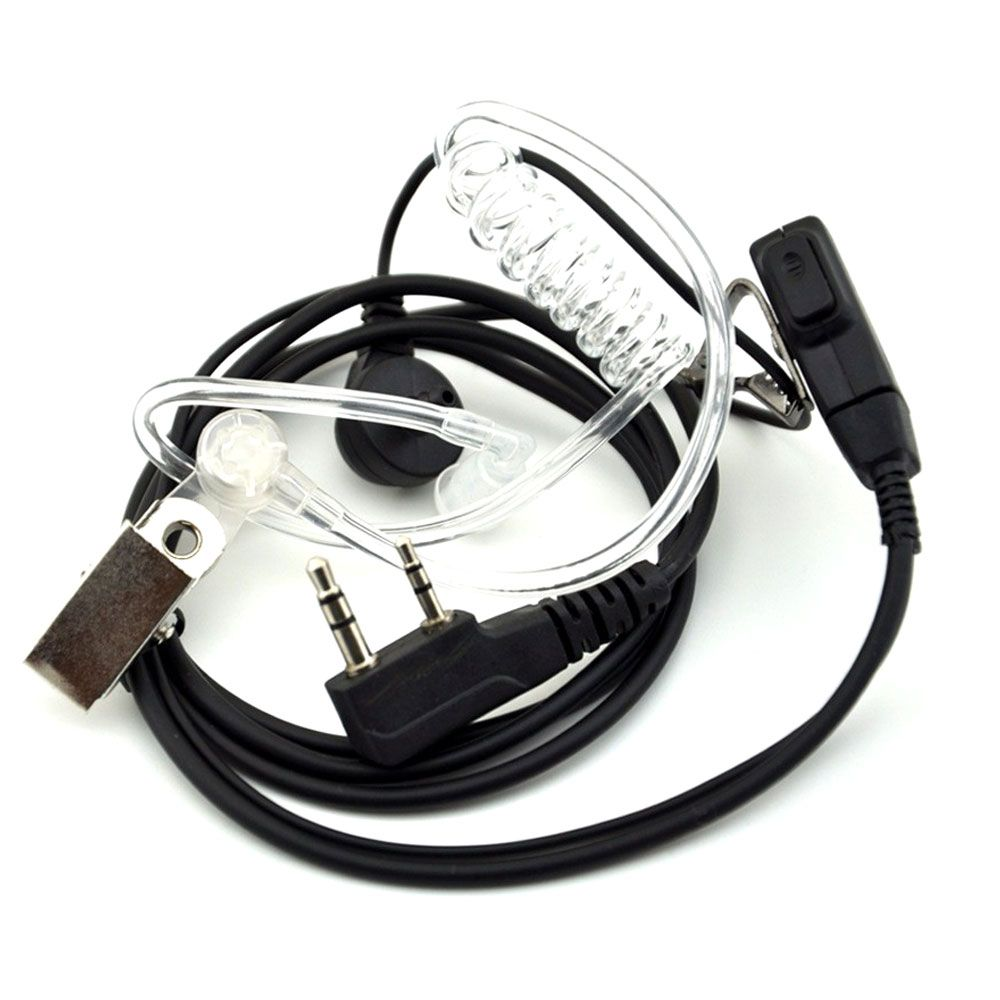 2PCS Walkie Talkie Earphone Air Acoustic Tube Earpiece Baofeng Radio 2 Pin PTT Transparent Headset Microphone K Port UV-5R