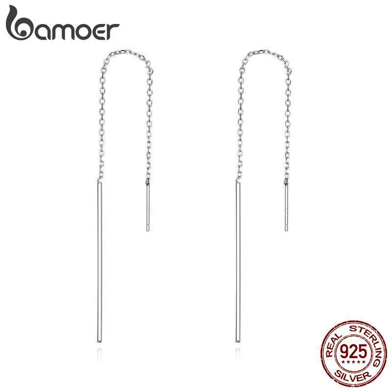 BAMOER Elegante Neue Echtem 925 Sterling Silber Einfache Linie Drop Ohrringe für Frauen Authentische Silber Schmuck Geschenk SCE490