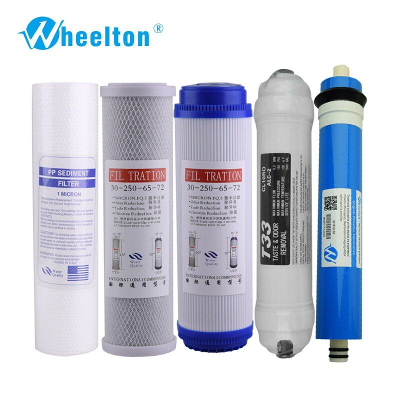 Wheelton New Water Purifier 5 Stage Filter Cartridge 75 gpd RO Membrane Reverse Osmosis System Water Filters For Household