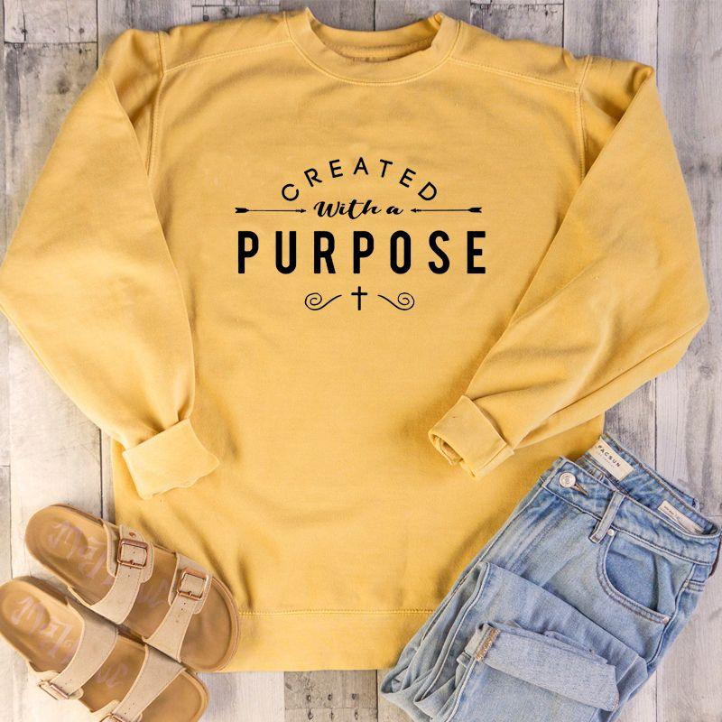 Créé avec un but graphique sweat Religion chrétienne esthétique sweat à capuche femmes pulls haut jésus vêtements livraison directe