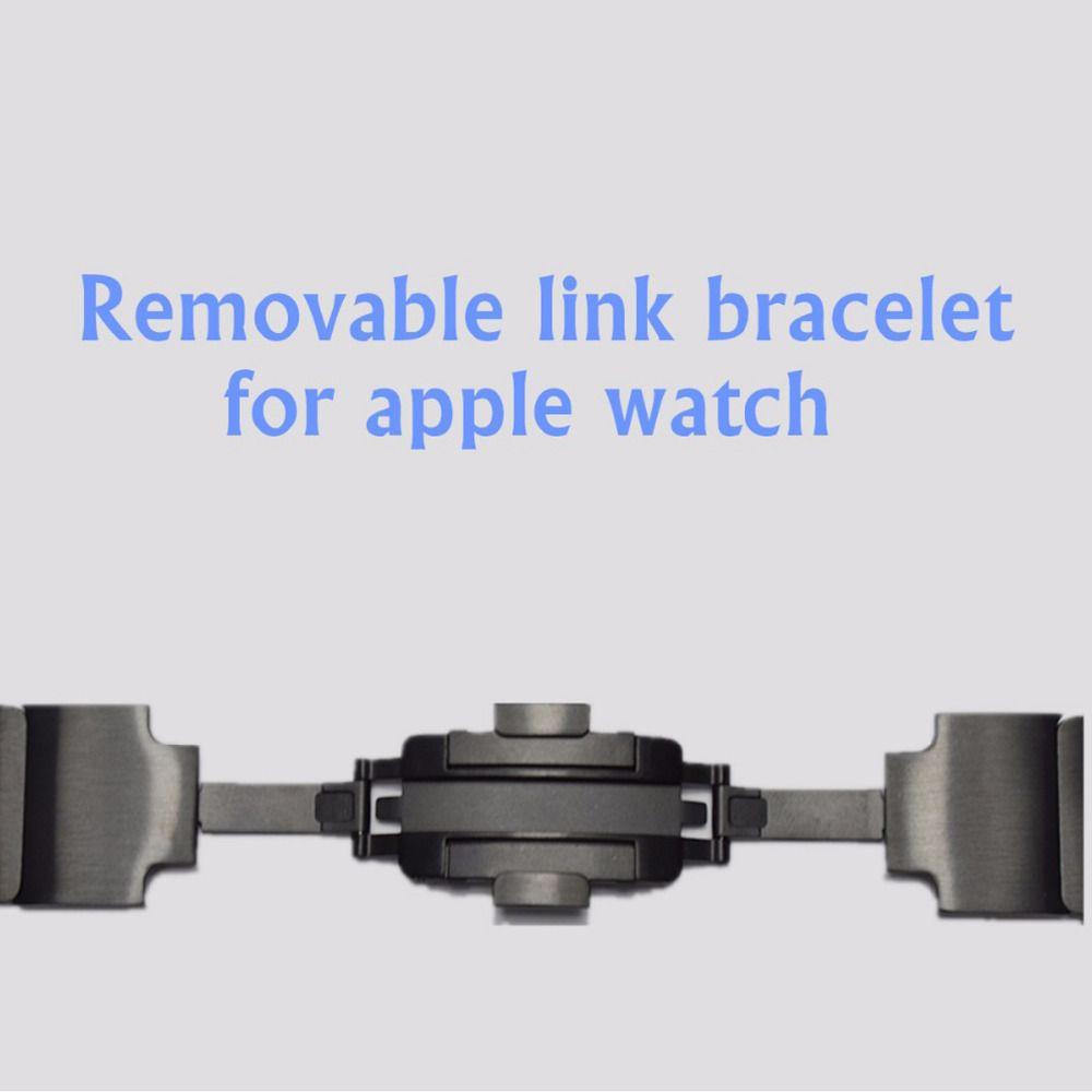 Link Bracelet Strap for Apple Watch 3/2/1 42mm 38mm band Stainless Steel metal black bracelet wrist watchband for iwatch 3/2/1