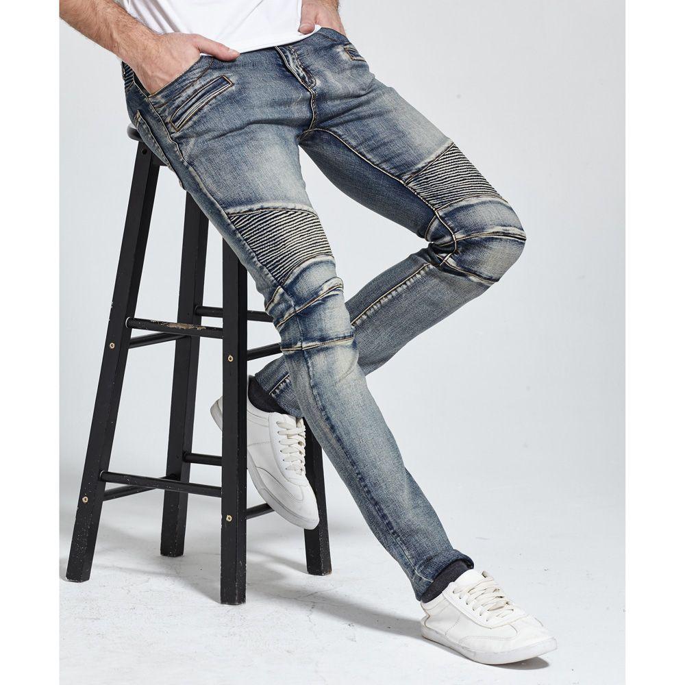 <font><b>2017</b></font> Men Jeans Design Biker Jeans Skinny Strech Casual Jeans For Men Good Quality H1703