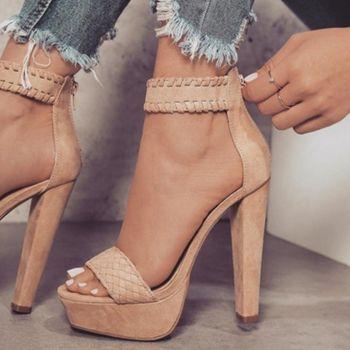 Femmes Boucle Cheville Gladiateur Sandales De Mode Talons hauts Sandale Plate-Forme D'été Tissage Épais Talons Femmes Pompes Chaussures Dames 2018