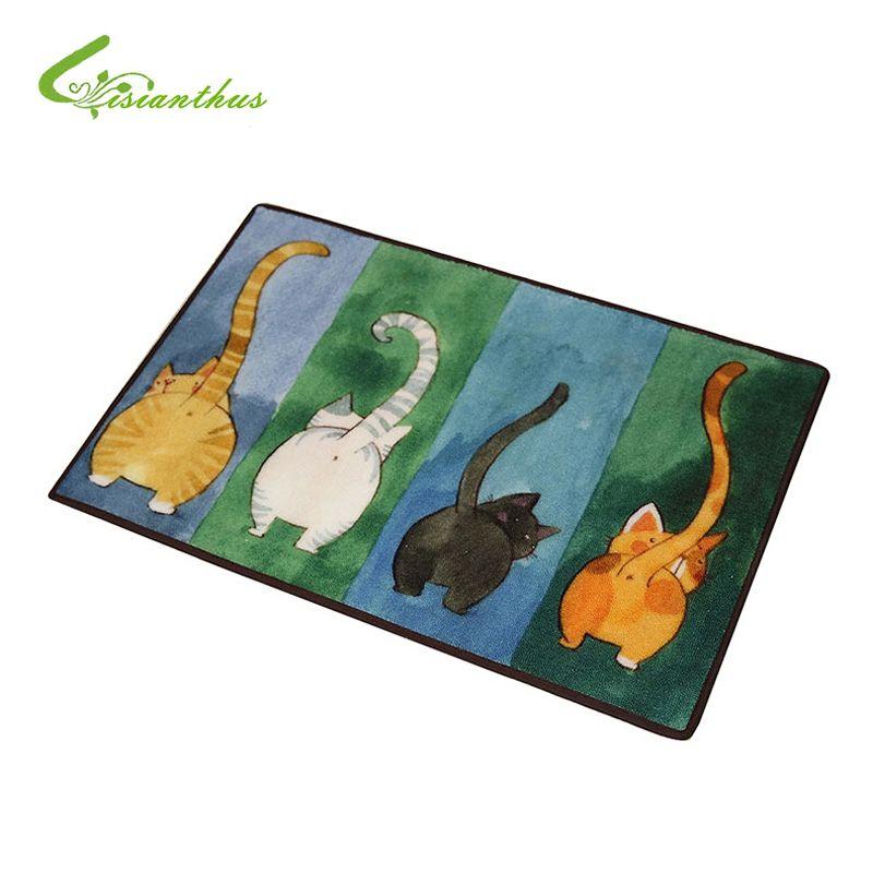 Nouvelle vente bienvenue tapis de sol Animal mignon quatre chats imprimé salle de bain cuisine tapis maison paillassons pour salon tapis anti-dérapant