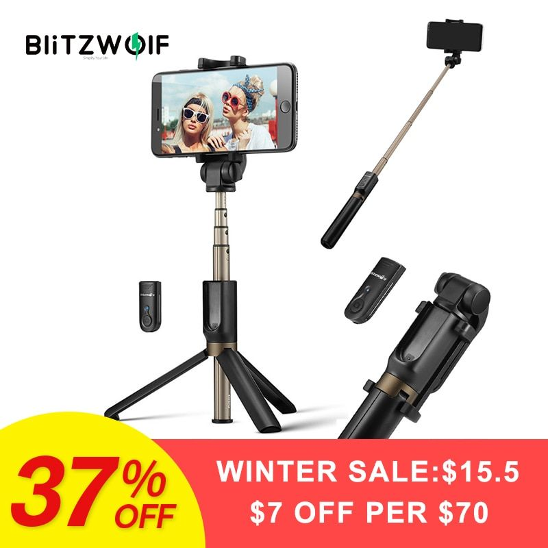 BlitzWolf BW-BS3 3 in 1 Wireless Bluetooth Selfie Stick Tripod Mini Extendable Monopod Universal For iPhone For Samsung Stable
