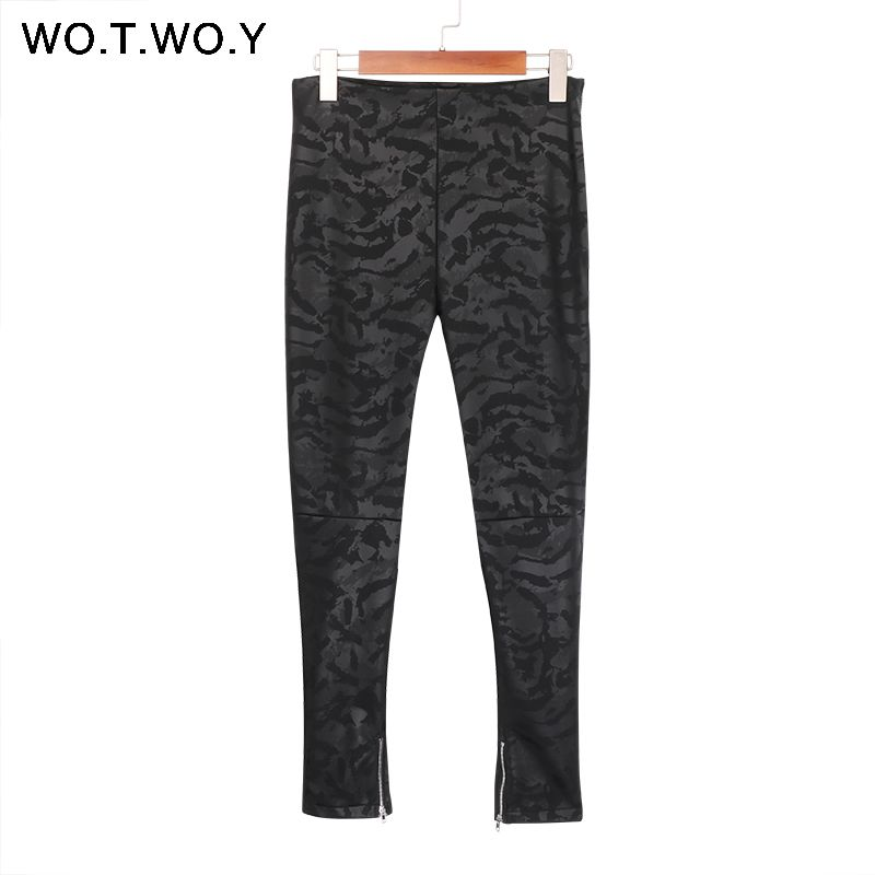 WOTWOY High Waist Zippers Leather Pants Women Skinny Fleece Faux Leather Trousers Women Pencil Pants Stretching Leather Leggings