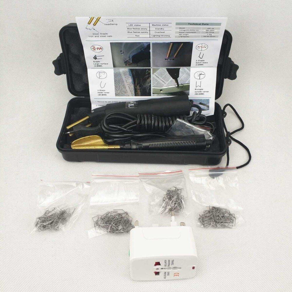 Car Bumper Repair Kit Hot Stapler Plastic Repair Plastic Kit Welding Machine & Smoothing Iron & 200pcs Stapler