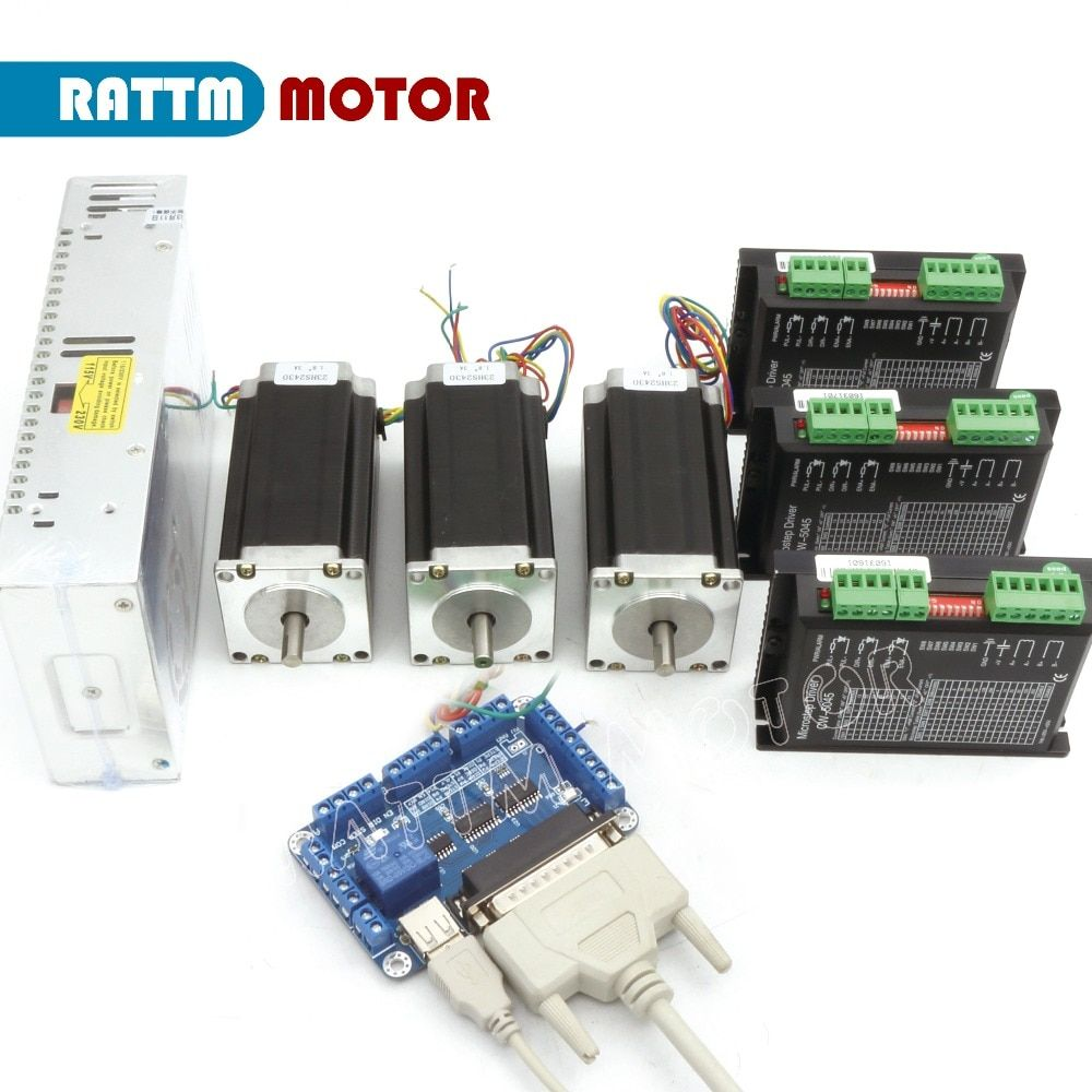EU Delivery!!! 3Axis CNC Router kit, Nema23 425 oz-in stepper motor(Dual shaft) 112mm 3A & 5045 Driver 4.5A 50V 256 microstep