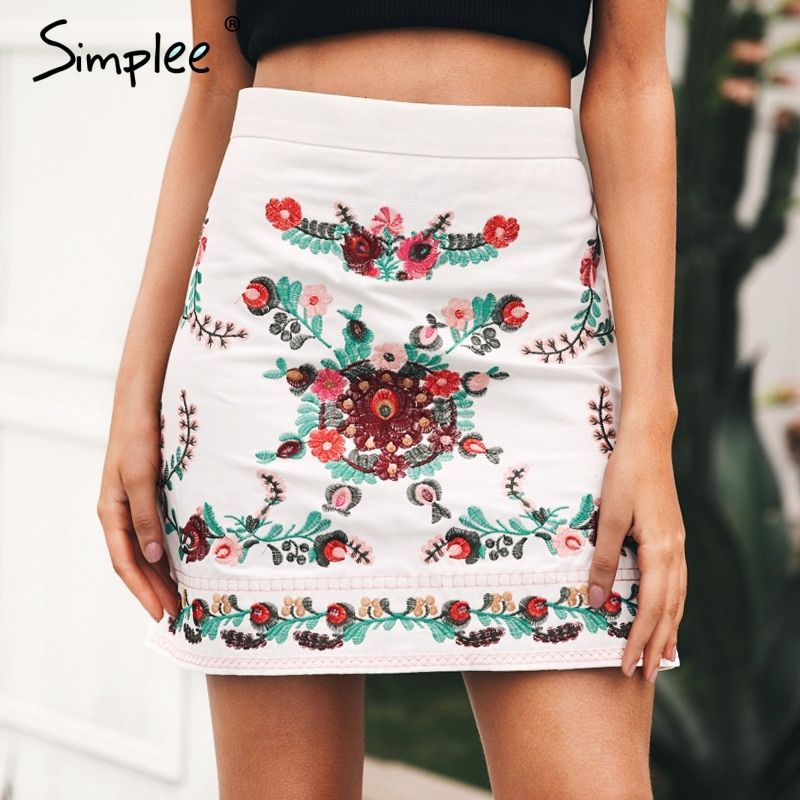 Simplee Vintage floral embroidery skirts Womens casual pencil skirts 2017 Autumn winter fashion streetwear short skirts female