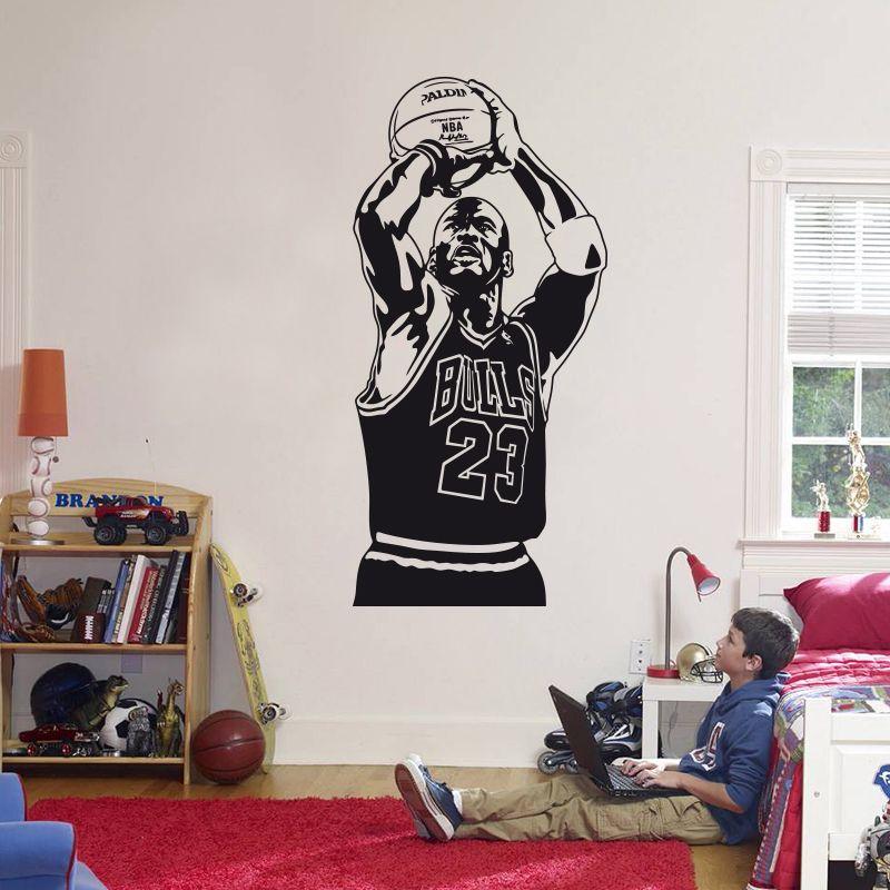 2018 Nouveau Design Michael Jordan Wall Sticker Vinyle BRICOLAGE Home Decor Joueur de Basket Stickers Sport Étoiles Pour Enfants Salle de Livraison gratuite