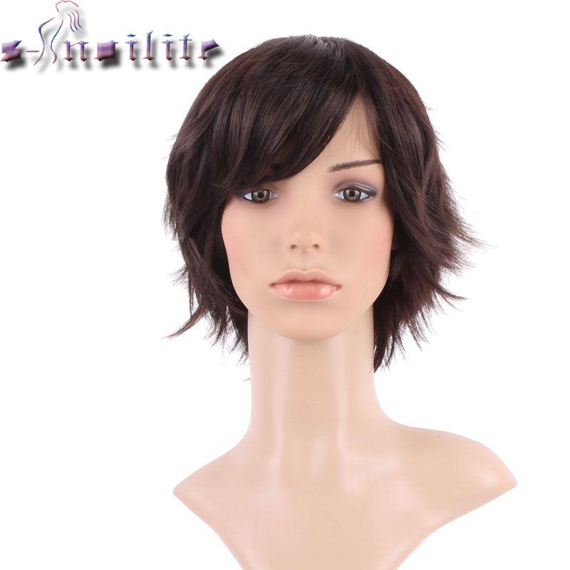 S-noilite soyeux droit Cosplay fête cheveux perruques brun foncé synthétique pleine tête courte perruque pour les femmes