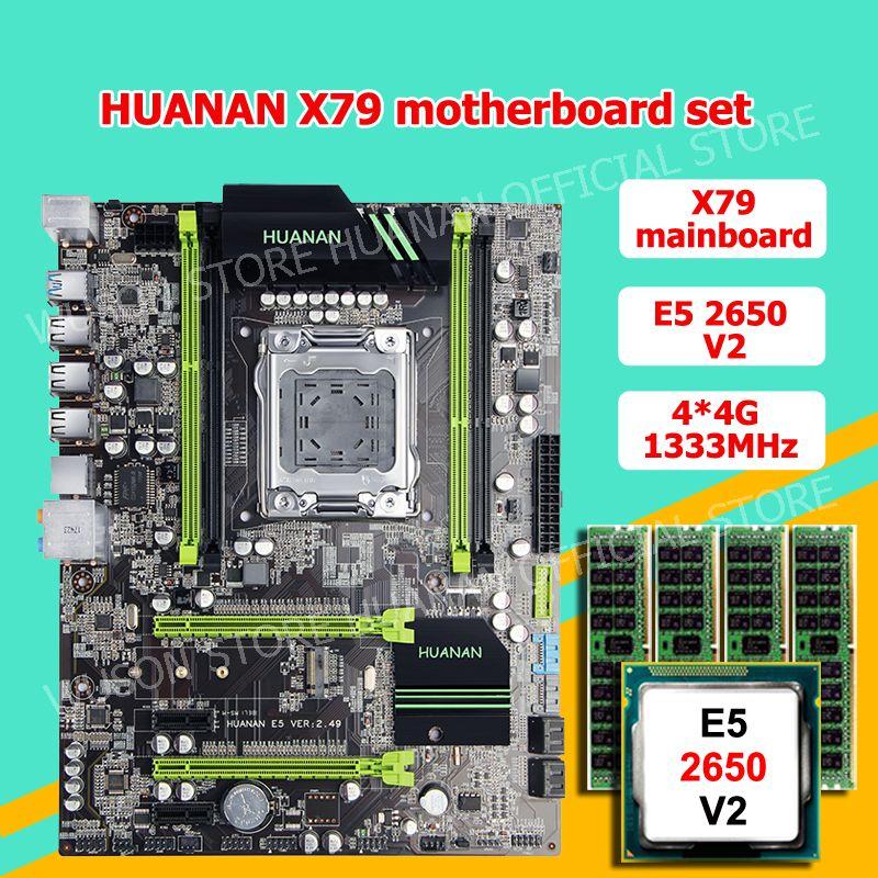 HUANAN ZHI X79 motherboard CPU RAM bündel rabatt motherboard mit M.2 slot CPU Xeon E5 2650 V2 RAM 16G (4*4G) 2 jahre garantie