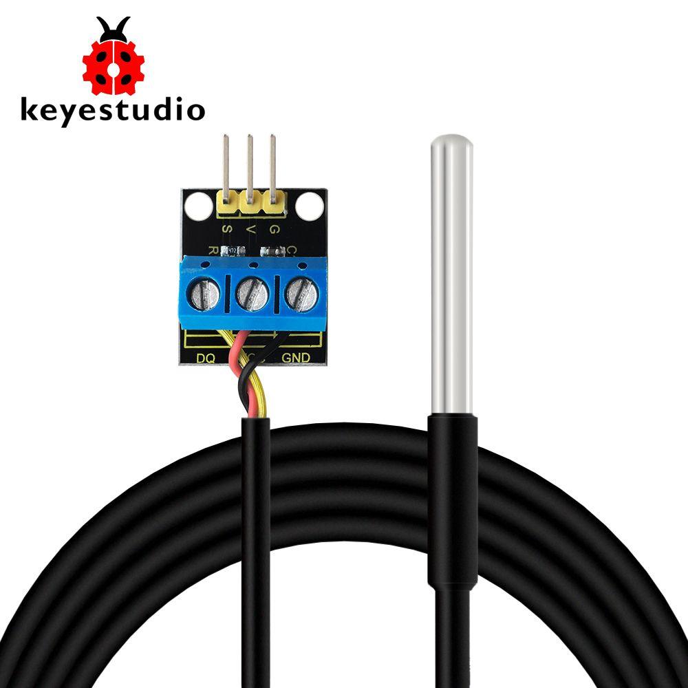 Keyestudio DS18B20 Waterproof /Stainless steel Temperature Detector Sensor With Module (Black and Eco-friendly)