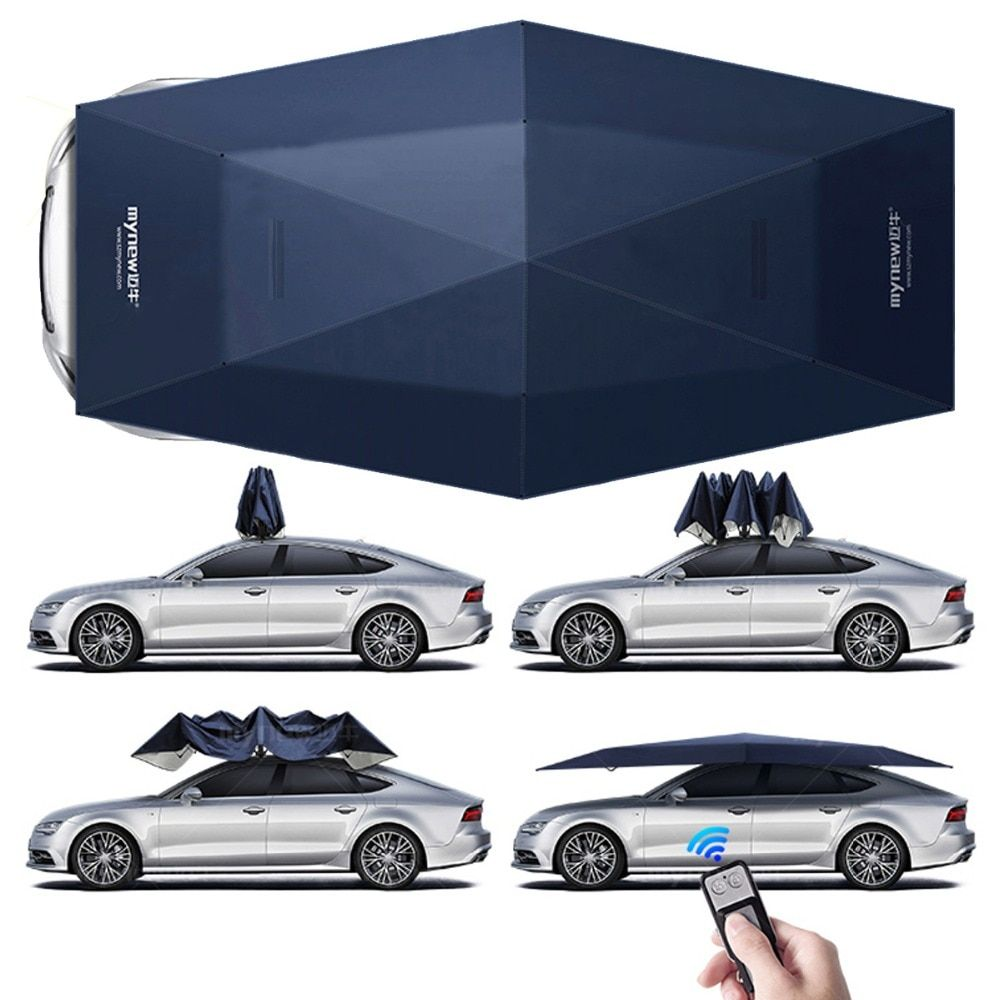 4.5M Folding Waterproof Full Automatic Car Cover Umbrella Car Sun Shade UV Roof Cover Tent Umbrella Protection Remote Control
