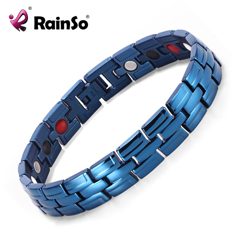 Rainso Guérison Magnétique Bracelet Hommes 316L Acier Inoxydable bracelets Bio energy (Magnétique, FIR, Germanium) bleu Bracelet Main Chaîne
